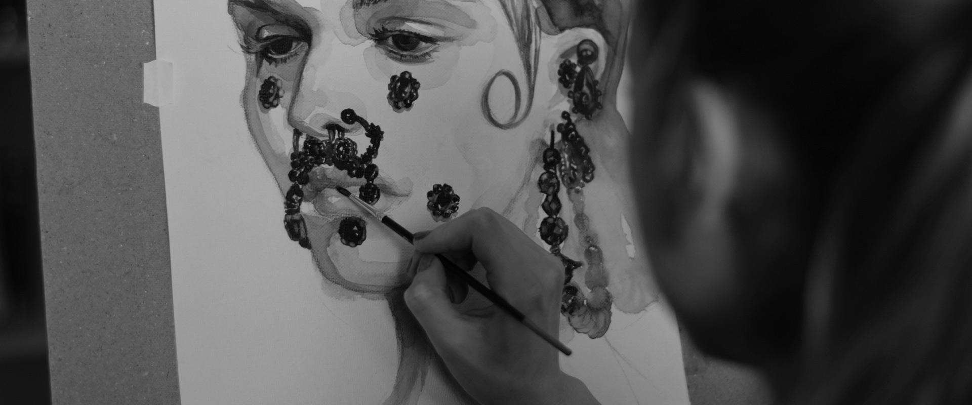 Sinestezic - pictând o ilustrație - portret unic femeie
