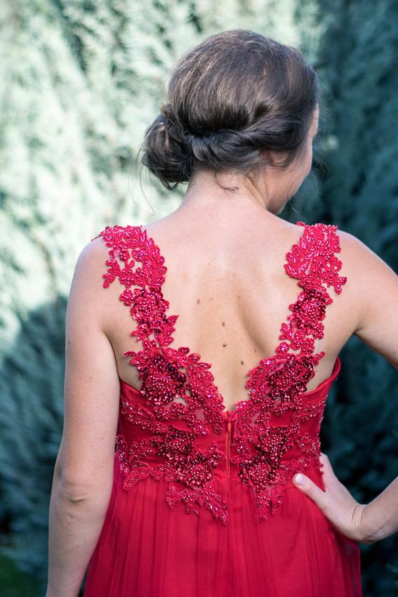 Rochie de seara dantela rosie - #SinestezicQueens - Sinestezic