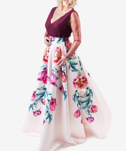 Sinestezic designer vestimentar roman | Rochie de seara cu imprimeu floral | Rochie de seara personalizata | Rochie de seara unicat | Rochie de seară Scented Dream