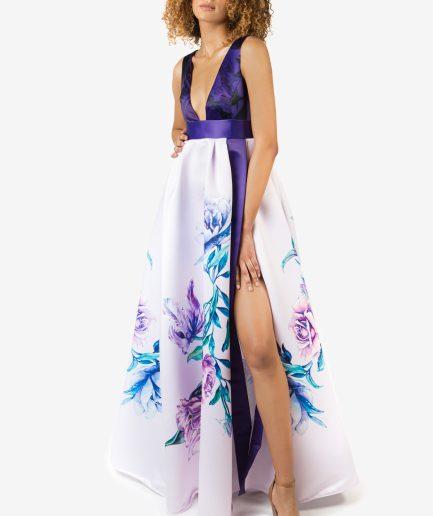 Sinestezic designer vestimentar roman | Rochie de seara cu imprimeu floral | Rochie de seara personalizata | Rochie de seara unicat | Rochie de seară Vivid Flowers