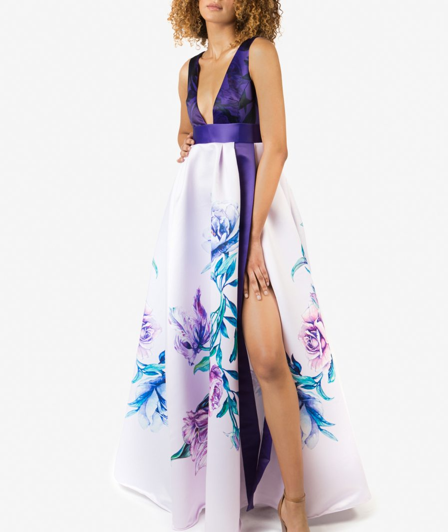 Sinestezic designer vestimentar roman   Rochie de seara cu imprimeu floral   Rochie de seara personalizata   Rochie de seara unicat   Rochie de seară Vivid Flowers