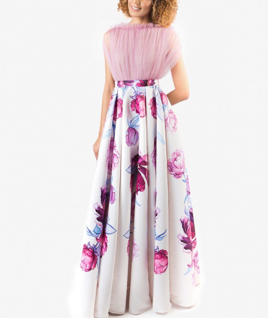 Sinestezic designer vestimentar roman   Rochie de seara cu imprimeu floral   Rochie de seara personalizata   Rochie de seara unicat   Rochie de seară Serenity