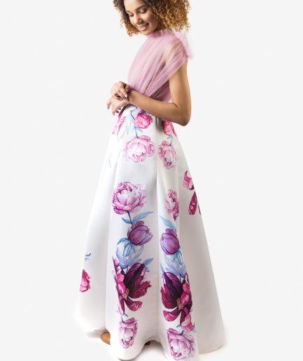 Sinestezic designer vestimentar roman | Rochie de seara cu imprimeu floral | Rochie de seara personalizata | Rochie de seara unicat | Rochie de seară Serenity