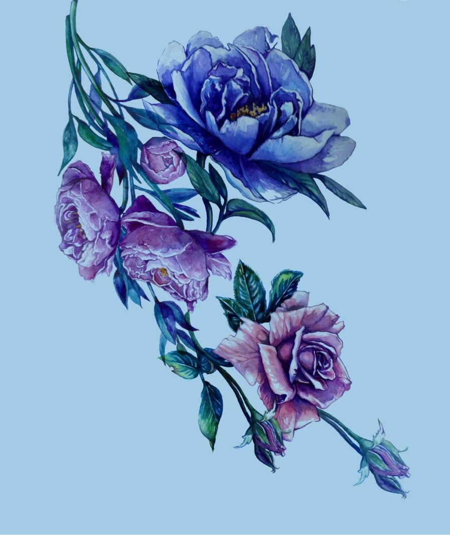 Imprimeu floral Sinestezic pentru rochie de zi midi Blue Bouquet