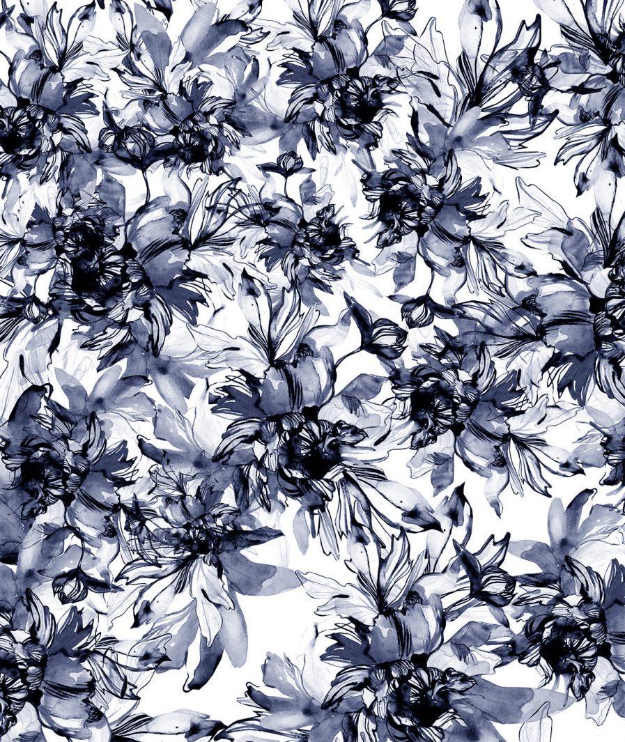 Imprimeu floral Sinestezic pentru fusta de seara lunga Inner Flower