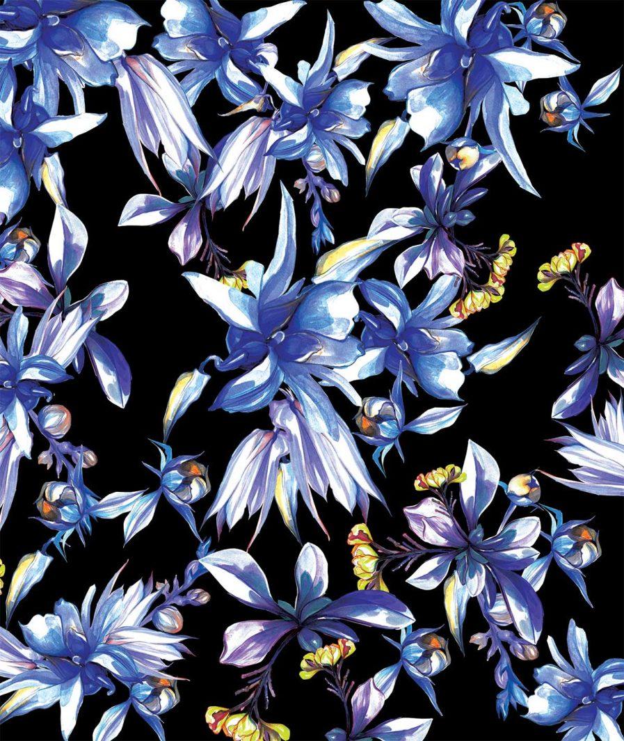 Imprimeu floral Sinestezic pentru fusta de zi midi Midnight Bouquet