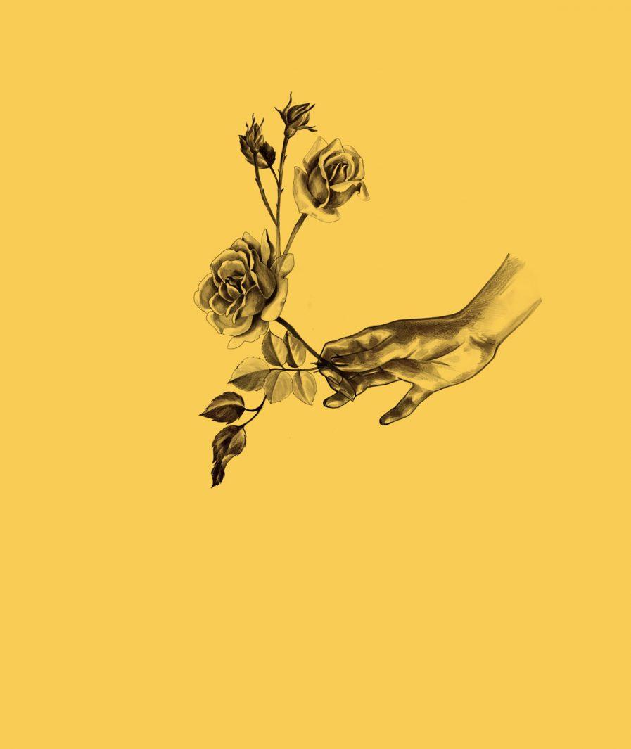 Imprimeu floral Sinestezic pentru fusta de seara lunga Yellow Rose