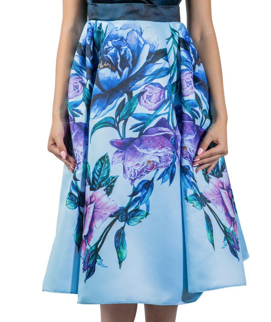 Sinestezic designer vestimentar roman | Rochie de zi midi cu imprimeu floral | Rochie de zi Blue Bouquet