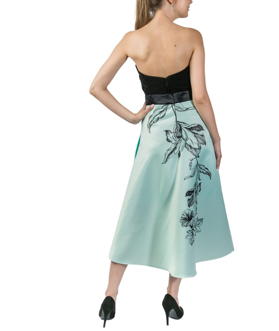 Sinestezic | Designer roman | Fusta de zi verde midi cu imprimeu floral | Fusta de zi midi Green Tulip