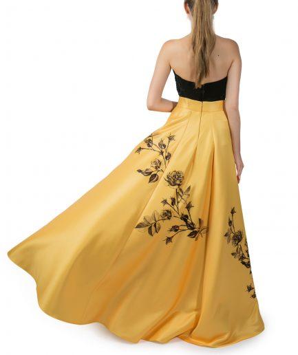 Sinestezic | Designer roman | Fusta de seara galbena lunga cu imprimeu floral | Fusta de seara lunga Yellow Rose