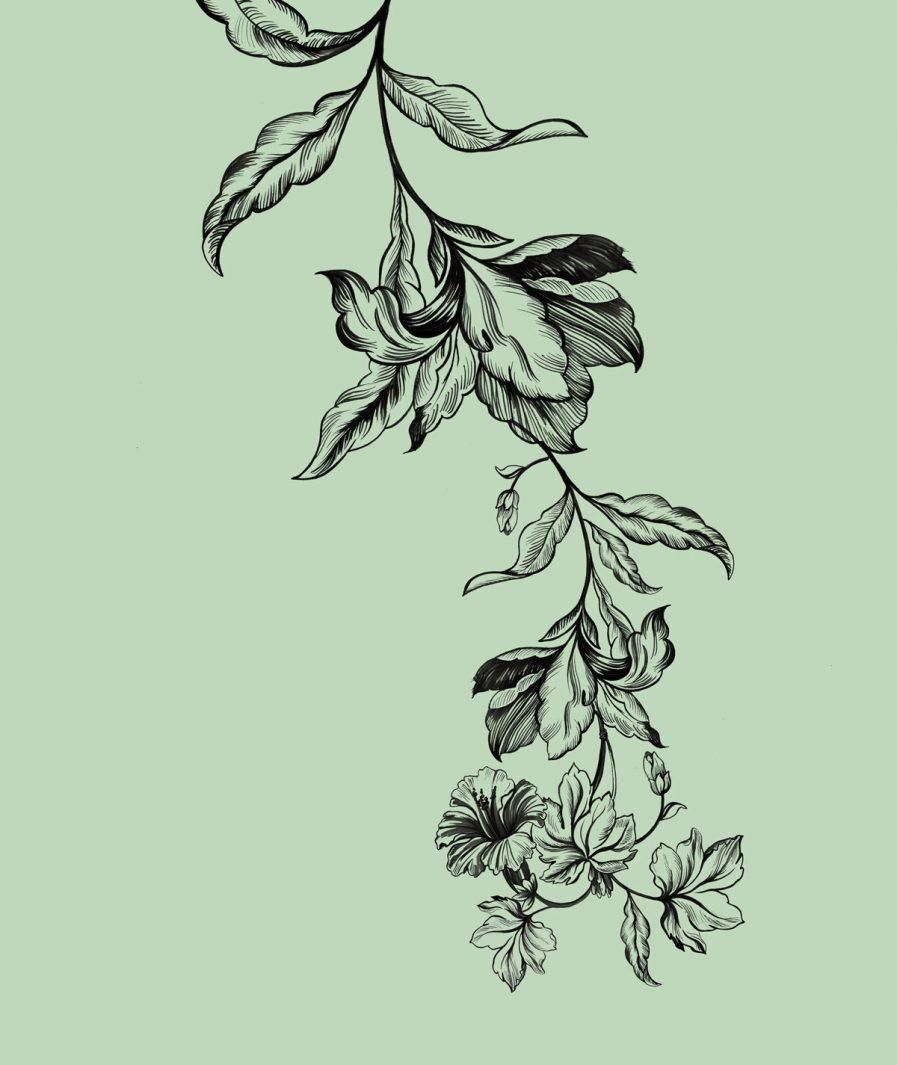 Imprimeu floral Sinestezic pentru fusta de zi midi Green Tulip