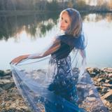 Rochie de seara albastra lunga cu imprimeu Sinestezic