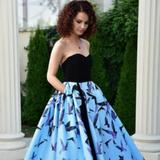 Rochie de seara albastra midi cu imprimeu Sinestezic