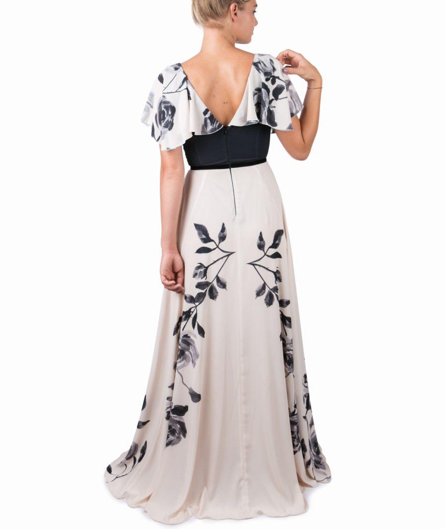 Sinestezic | Designer roman | Rochie de seara lunga Fluid Rose | Rochie de seara lunga cu imprimeu floral