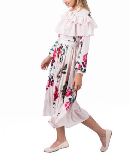 Sinestezic designer vestimentar roman | Rochie cocktail midi cu imprimeu floral | Rochie cocktail midi Veil Rose