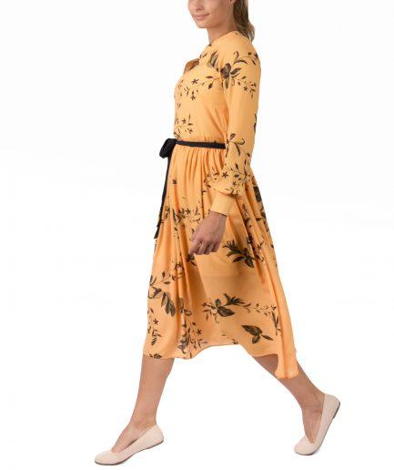 Sinestezic designer vestimentar roman | Rochie cocktail midi cu imprimeu floral | Rochie cocktail midi Yellow Veil