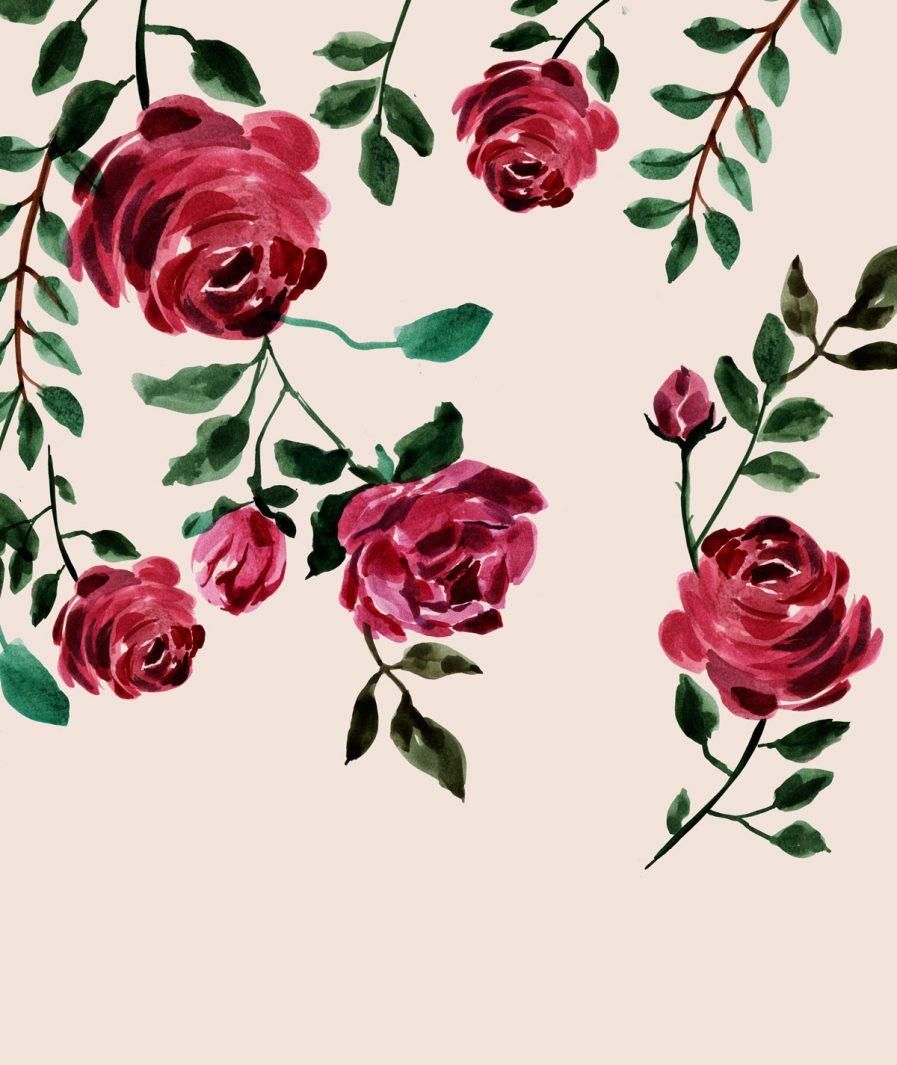 Imprimeu floral Sinestezic pentru rochie cocktail midi Veil Rose
