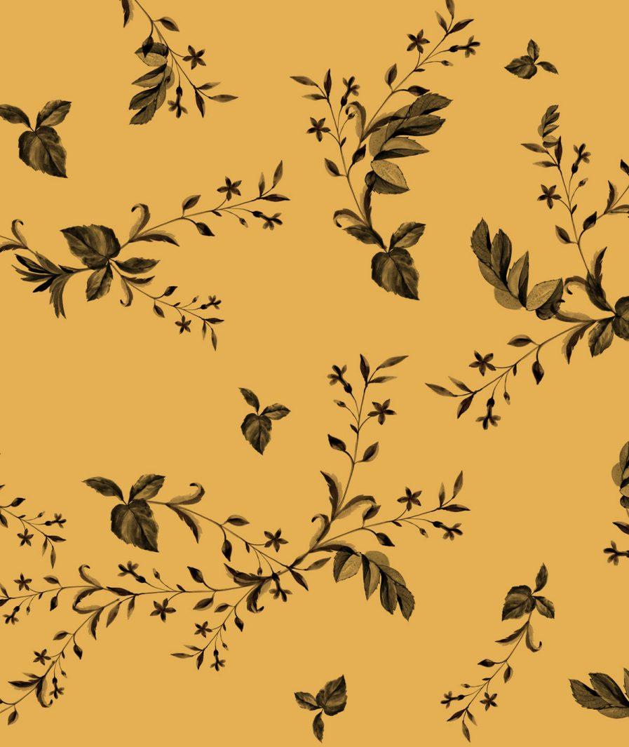 Imprimeu floral Sinestezic pentru rochie cocktail midi Yellow Veil